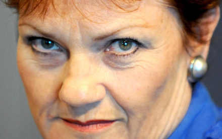 Former One Nation leader Pauline Hanson speaks to her former advisor, 2UE radio host David Oldfield during his morning program in Sydney, Thursday, March 24, 2011. The pair have not seen each other for 11 years. (AAP Image/Tracey Nearmy) NO ARCHIVING
